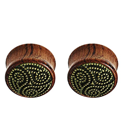 LDGR 1 Par De Tapones De La Oreja De Madera Pendientes Pendientes De Carne Túnel Expansor Piernicing Stronger Body Piercing Jewelry (Main Stone Color : 10mm, Metal Color : Style 3)