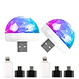 Luces Discoteca, USB Mini Disco Ball Party Lights, 2 Paquetes de Sonido Activado 3W RGB DJ Multi Colors Magic Strobe Stage Light para el Coche Christmas,...
