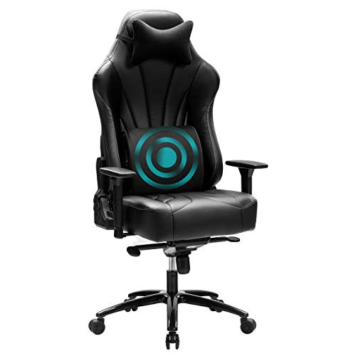 Blue Whale Super Big and Tall Gaming Chair with Massage Lumbar Support Sedentary Reminder Metal Base and Aluminum Alloy Armrest High Back PC Racing Office Computer Desk Ergonomic Swivel Task Chair8329