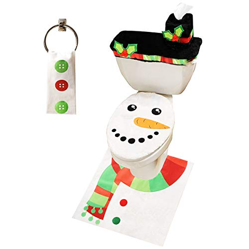 JOYIN 5 Pieces Christmas Snowman Theme Bathroom Decoration Set w/Toilet Seat Cover, Rugs, Tank Cover, Toilet Paper Box Cover and Santa Towel for Xmas Indoor Décor, Party Favors