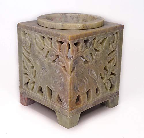 Bruciatore per oli essenziali, in pietra ollaria, 6 modelli differenti, include 2 candele. Dimensioni: 7 x 7 x 9 cm (Elefante)