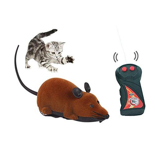 Haustier Katzen Hunde Neuheit Geschenk Spielzeug Lustige Ratte Maus Wireless Elektronische Fernbedienung (Braun-1)