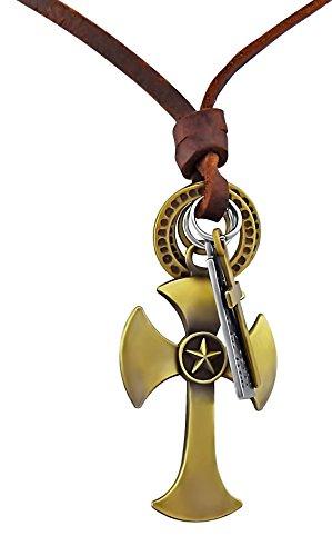 Hanessa echt lederen halsketting heren sieraad ketting gouden kruis cadeau voor Kerstmis voor vriend/man
