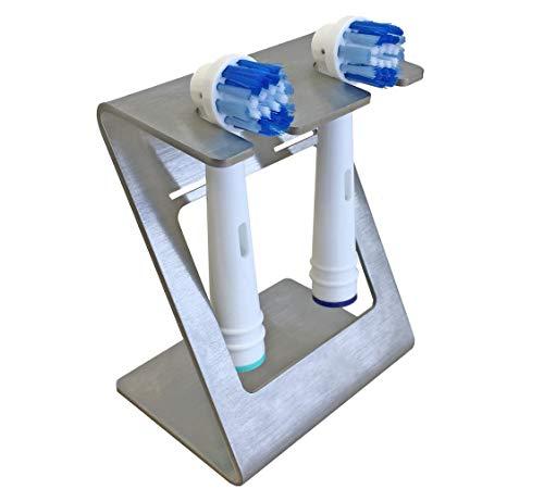 steland metallmanufaktur, Pärchen-Halterung aus Edelstahl für 2 Aufsätze elektrischer Zahnbürsten, inkl. Wandhalterung, mit Allen gängigen Aufsätzen kompatibel