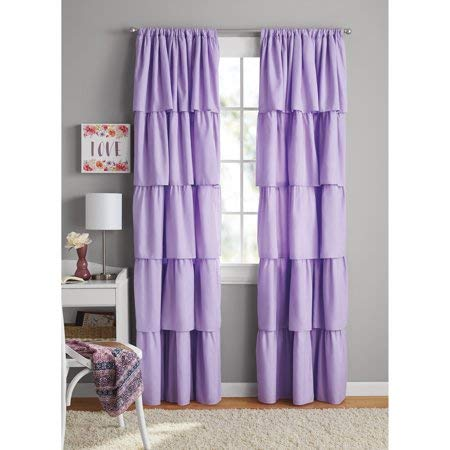 Your Zone Ruffle Girls Bedroom Curtain - (42 x 84) in Purple
