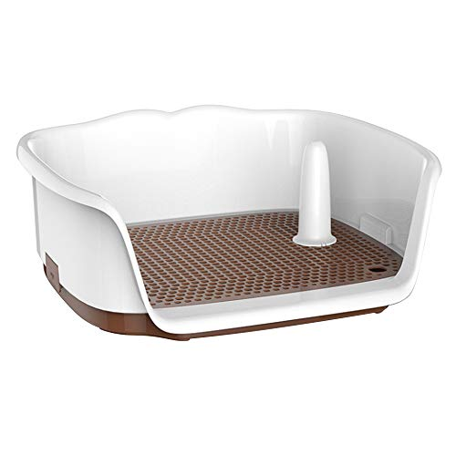 Wnvivi Dog Training Toilet, 17.3'x15.2'x6.7' Small Dog Potty Fence, Dog Toilet Puppy Dog Potty Tray, Puppy Pad Holder with Removable Post and Wall Cover for 8kg/17Ib Dogs Puppies Small Pets - Brown