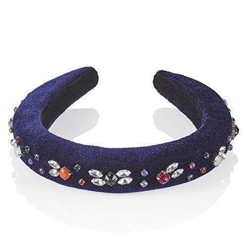 Blauwe Embellished hoofdband gewatteerde strass steentjes hoofdband fluweel vintage juwelen hoofdband van Anairys. Mode muze voor dit seizoen, jurk moeiteloos van bureau tot dageraad. Anairys