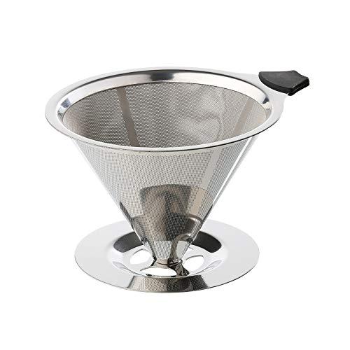 Cilio Dauerfilter für Kaffee mit Standfuß Edelstahl