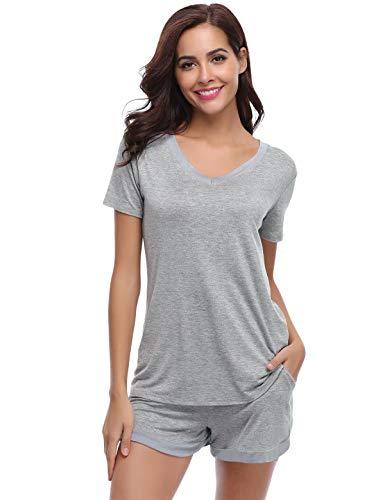 Abollria Pijamas Mujer Verano Corto del Pijamas Pantalones Manga Corto 2 Piezas de Ropa de Dormir Algodón Suave Loungewear