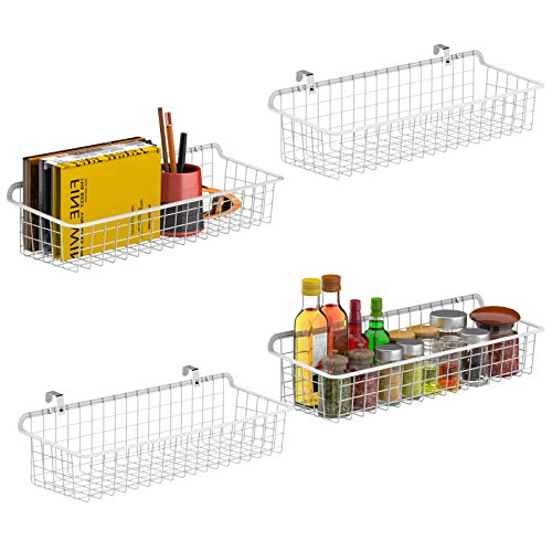 Wall Basket Cambond Metal Wall Mounted Wire Baskets for Storage Durable Hanging Wire Wall Basket Pantry Organizer for Kitchen Home Office Bathroom Garage Mount Hooks Included 4 Pack White