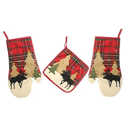 Oneiric P Ofenhandschuh Topfhandschuhe Baumwolle Hitzebeständig Weihnachtselch Geschenk 1Paar Kochhandschuhe und Topflappen Backhandschuhe Grillhandschuhe für Küche BBQ