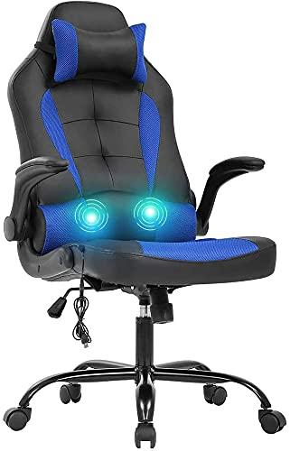 Silla de juego ergonómica, silla de juego de computadora giratoria con masaje, silla de oficina para el hogar, mesa de juegos de espalda alta, silla de juego de deportes electrónicos, ( Color : Blue )