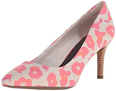 Rockport Women's Total Motion 75mm Pointy Toe Pump Pink Leo Canvas 7 W (C)