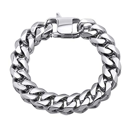 Mens Cuban Link Chain Bracelet,15mm Width,316L Stainless Steel Miami Curb Rapper Bracelet,Gift for Men (Silver-(Only Bracelet), 8)