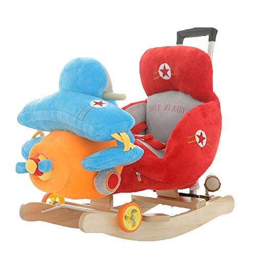 Baby Rocking Horse Ride Toy, Rocking Horse Early Childhood Education Toys Solid Wood Trojan Music Dual-use Rocking Chair Rocking Cradles Gift