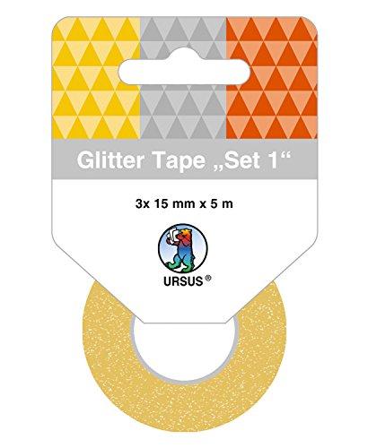 Ursus 58830001 Glitter Tape Set, 3 Rouleaux de 15 mm x 5 m, Or/Argent/cuivre