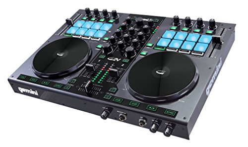 Gemini Sound G2V Professional Audio Interface 2-Channel MIDI Mappable Virtual DJ Controller Deck with Touch Sensitive Jog Wheels, XLR outputs, Metal Enclosure