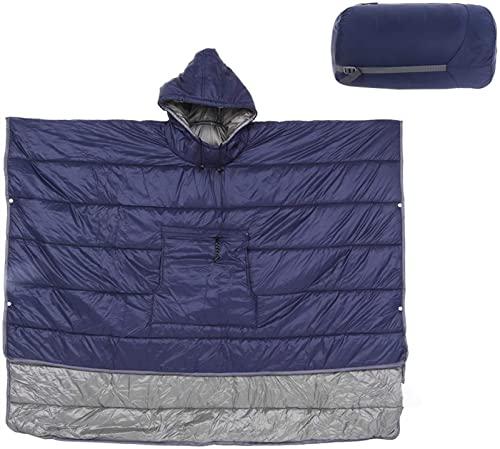 LUBINGT Coperta con Cappuccio indossabile, Sacchetto a Pelo Multifunzione Impermeabile con Cappuccio Mantello for Campeggio all'aperto in Viaggio