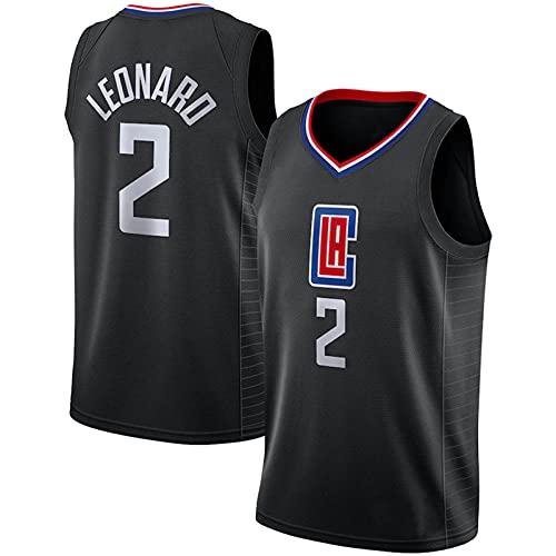 Divisa da Basket Casual, Maglia da Basket Swingman in Mesh Traspirante Clippers # 2, T-Shirt Sportive per Il Tempo Libero da Uomo E da Donna, Black-XXXL