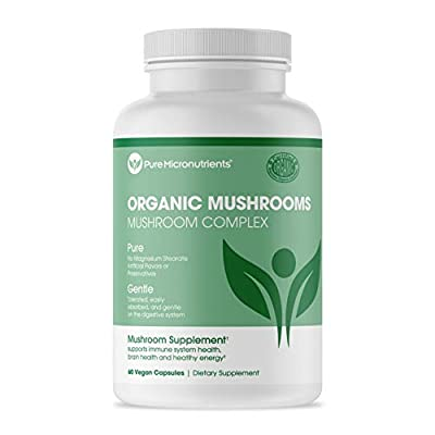 Pure Mushroom Supplement - Lions Mane, Reishi, Chaga, Cordyceps & Turkey Tail - Premium Immune System Booster & Nootropic Brain Complex for Energy, Memory & Focus - 60 Vegan - Pure Micronutrients