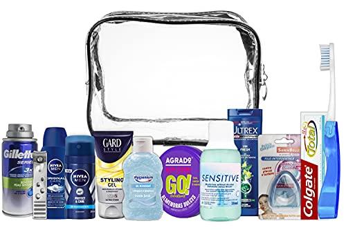 A2S Reiseset für Herren Bundle (ColgateTotal Original, Gard, Nivea Men Duschgel, Nivea Deo Spray, Gillette, Listerine, Nivea Creme, Ultrex Shampoo Active Cleanse, Hygenium, Sani&Belli)
