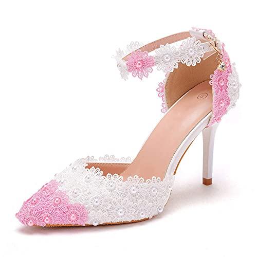 YLKCU Zapatos de Novia para Mujer, 9,5 cm de Encaje Rosa y...