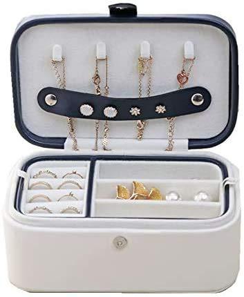 Gymqian Caja de Joyería de Cuero Forma de Hojas de Joyería de Múltiples Pisos Caja de Alenamiento de Joyería Pu Caja de Joyería Creativa Diseñada para Mujeres Seguro y fuerte