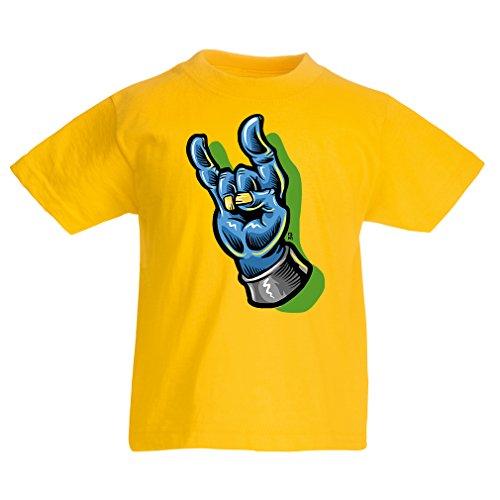 Camisas para niños Zombie Mano A Rock and Roll símbolo, Signo de los Cuernos, Signo de Metal (7-8 Years Amarillo Multicolor)