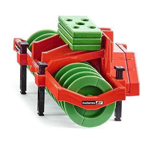 SIKU 2068, Holaras Silowalze Anhänger, 1:32, Metall/Kunststoff, Grün/Orange, Inkl. 3 Gewichtsplatten