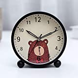 SJQ Alarm Clock Silence Bedside Nightlight Children's Room Special Boys and Girls Princess Creative Individuality Lazy People,Winnie the Pooh