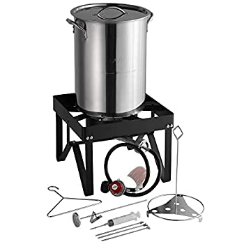Backyard Pro 30 Qt STAINLESS STEEL Turkey Deep Fryer Kit Steamer Pot Propane LP