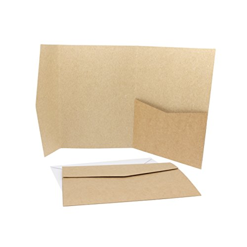 Threeet 50 x Pocketfold/Falttaschen/Klappkarten mit 50 x passenden Umschlägen in weiß - Vintage Kraftpapier Umschläge ideal als Einladungskarte (50)
