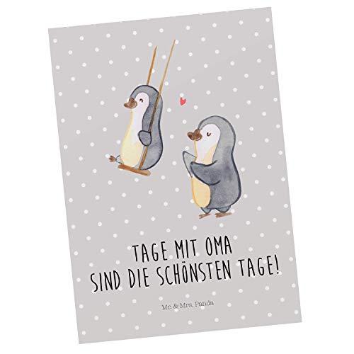 Mr. & Mrs. Panda Geschenkkarte, Karte, Postkarte Pinguin Oma schaukeln mit Spruch - Farbe Grau Pastell