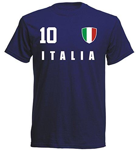 Italien WM 2018 T-Shirt Fußball Trikot Sport - Navy ALL-10 - S M L XL XXL (2XL)