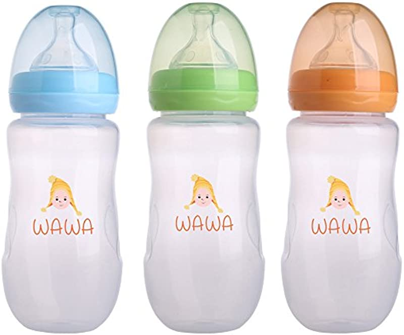 Wawa Baby Bottle The Leak Proof Feeding Bottle With Soft Silicone Nipple For Natural Touch Milk Flow Child Safe Anti Colic Infant Nursing BPA Free Large Flow 10 Ounces 3 Count