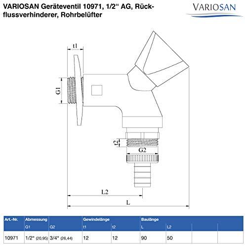 VARIOSAN Geräteventil 10971, 1/2″ AG, Rückflussverhinderer, Rohrbelüfter - 4