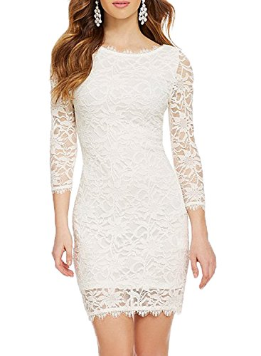 WOOSEA Elegant 3/4 Sleeve Full Flroal Lace Short Cocktail Dress