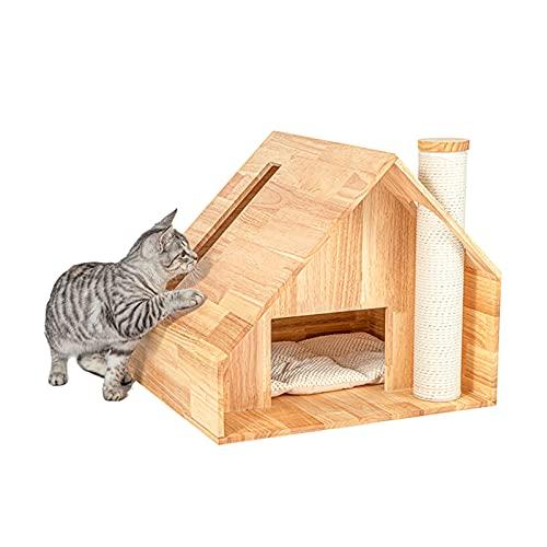 Casa para Gatos Árbol para Gatos Una Arena para Gatos De Madera Maciza, Estructura De Techo De Rejilla De Material De Roble Villa para Gatos, Equipada con Una Almohadilla De Franela