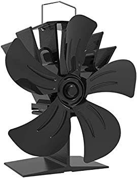 KINDEN Wood Stove Fan 5-Blade - Heat Powered Log Burner Eco-Friendly with Stove Thermometer  Aluminium Black Large Size  Patent Pending