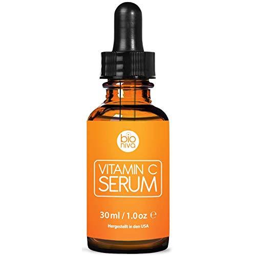 Bioniva Vitamin C Serum für Ihr Gesicht mit 20% Vitamin C + Hyaluronsäure + Vitamin E + Jojobaöl. Natürliche AntiAging + Anti Falten + Bio Kollagen Booster Gesichtsserum mit organischen Inhaltsstoffen. Ideal für den Einsatz mit einer Derma Roller. (30 ml)