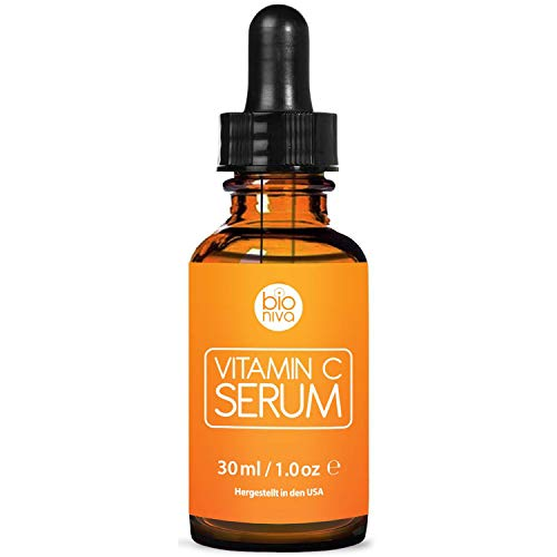 Bioniva Vitamin C Serum with 20% Vitamin C + Hyaluronic Acid. Vegan Anti Wrinkle & Anti Aging Serum. Reduce Wrinkles & Fine Lines & Stimulate Collagen. Great for Dermaroller Microneedling. 30ml