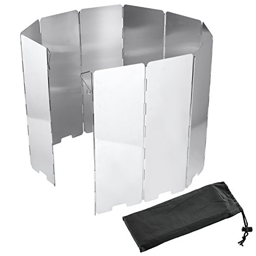 Diealles Gaskocher Windschutz Hoch 10-Lamellen aus Aluminium für Camping und Wandern