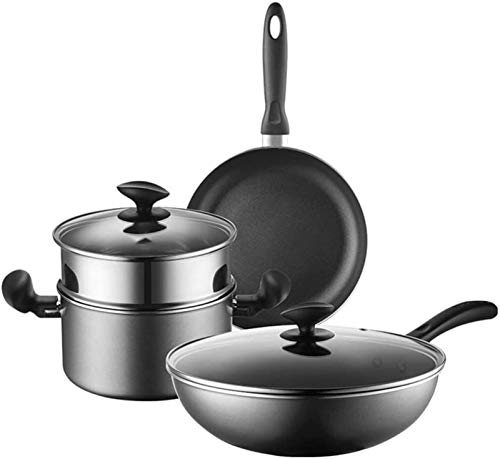 YYCHJU Cookware Set for Gas, Electric and Stovetop Cookware-Set 3-PieceCooking Pot Set with Glass-LidsAll Types of cookers Induction Gas Ceramic Electric