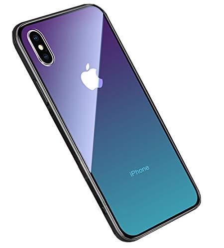 LAYJOY Funda iPhone X, Funda iPhone XS, Ligera Carcasa Silicona Suave Negro TPU Bumper y Transparente Vidrio de Imitación Anti-Arañazos Cover Caso (Aurora) - 5.8 Pulgadas