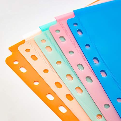 FANWU 10 Pack Expandable Poly Binder Pocket, 3/4-inch Gusset, Letter Size, 11 Holes Punched, Index Dividers Pocket Folders Plastic Envelopes Clear Document Folders for Ring Binder Photo #4