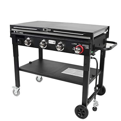 Razor Griddle GGC1643M Outdoor Steel 4 Burner Propane Gas Grill Griddle w/ Wheels & Top Cover Lid Folding Shelves for BBQ Cooking, Black Grills Propane