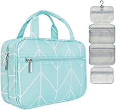 PAVILIA Hanging Travel Toiletry Bag Women | Bathroom Toiletry Organizer Kit for Cosmetics Makeup | Dopp Kit Hygiene Bag for Shaving Shower (Teal Chevron)