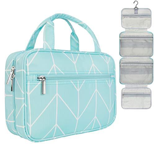 PAVILIA Hanging Travel Toiletry Bag Women   Bathroom Toiletry Organizer Kit for Cosmetics Makeup   Dopp Kit Hygiene Bag for Shaving Shower (Teal Chevron)