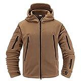 Memoryee Herren Military Fleece Outdoor Jacke Tactical Hoodies Winddicht Wasserdicht Ideal f¨¹r Sport, Arbeit und Freizeit/Sand/XL