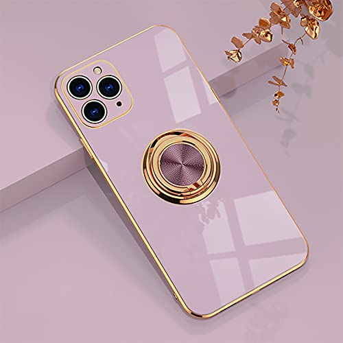 aowner Compatible with iPhone 11 Pro Max Ring Holder Case Shiny Plating Rose Gold Edge 360 Degree Rotation Kickstand for Women Girls Slim Soft Flexible TPU Protective Cover Case, 6.5 Inch